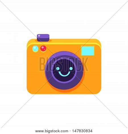 Photo Camera Primitive Icon With Smiley Face. Office Or School Desk Supply Sticker In Simplified Childish Cartoon Vector Design Isolated On White Background
