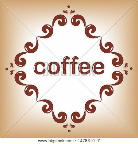 cofee word frame / Vector template for coffee design.