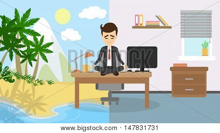 Meditation and relaxing. Businessman sitting in a lotus pose and meditate imagining sunny beach, palms and ocean. Concept of relaxation in office.