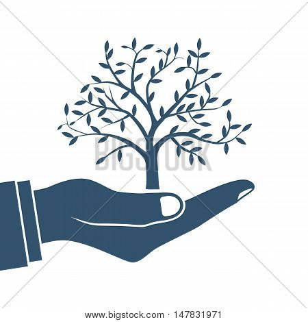 Environmental protection. Ecology concept. Tree in hand human. Vector illustration flat design