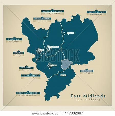 Modern Map - East Midlands UK vector illustration