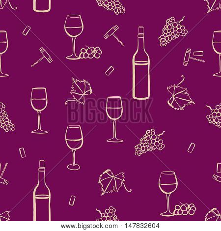 Seamless vector pattern with freehand drawings of wine glasses, grapes, bottle, corkscrew, cork, and vine leaf with tendril, light yellow on purple background