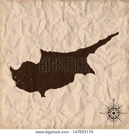 Cyprus old map with grunge and crumpled paper. Vector illustration