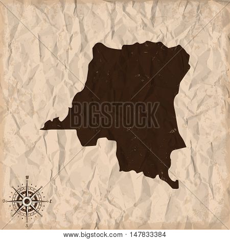 Democratic Republic of the Congo old map with grunge and crumpled paper. Vector illustration