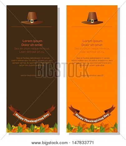 Happy Thanksgiving Day. Vector banners with symbols of Thanksgiving - pilgrim hat and fallen autumn leaves.
