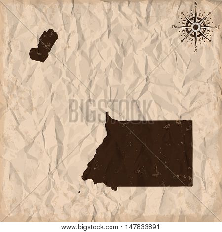 Equatorial Guinea old map with grunge and crumpled paper. Vector illustration