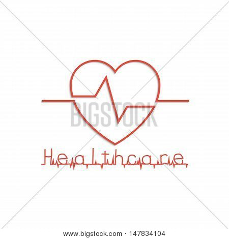Heart as symbol of healthcare minimum design line. Vector illustration flat style. Cardiogram icon. Medical background