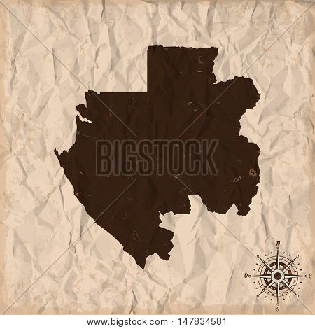 Gabon old map with grunge and crumpled paper. Vector illustration