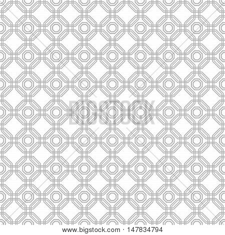 Geometric fine abstract vector silver octagonal background. Seamless modern pattern