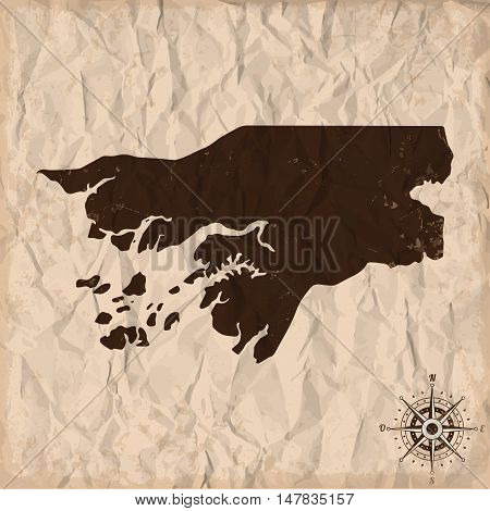 Guinea-Bissau old map with grunge and crumpled paper. Vector illustration