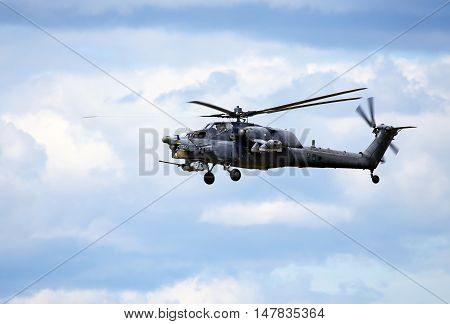 MOSCOW REGION  -   JUNE 10: Perform  flight by the modern russian attack helicopter Mi 28  -  on June 10, 2015 in Moscow region