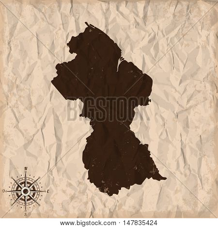 Guyana old map with grunge and crumpled paper. Vector illustration
