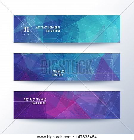 Set of horisontal abstract low poly geometric banners with triangles, vector illustration