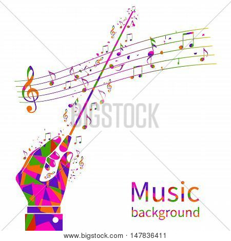 Colorful music background. Abstract hands of conductor orchestra. Maestro composer. Conductor's stick. Musical notes template. Vector illustration flat design.