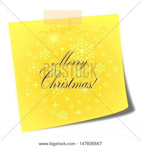merry christmas yellow note  - christmas illustration concept