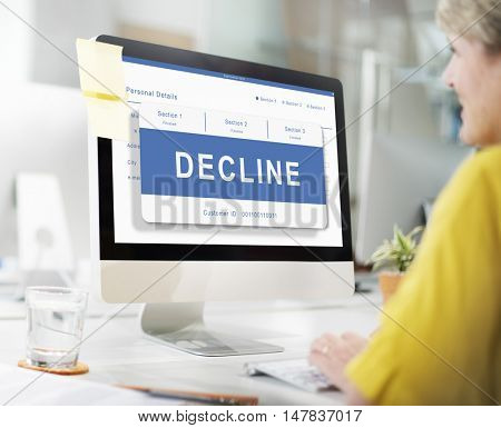 Decline Entry Pending Waiting Approved Reject Concept