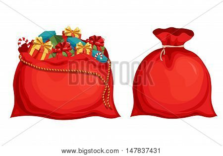 Christmas Santa's bag. Christmas holiday object. Christmas Santa's bag vector illustration. Cartoon Santa's bag with full of gift boxes and present