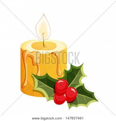 Christmas candle. Christmas holiday object. Christmas candle vector illustration. Cartoon candle with holly berry
