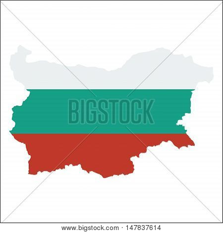 Bulgaria High Resolution Map With National Flag. Flag Of The Country Overlaid On Detailed Outline Ma