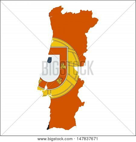 Portugal High Resolution Map With National Flag. Flag Of The Country Overlaid On Detailed Outline Ma