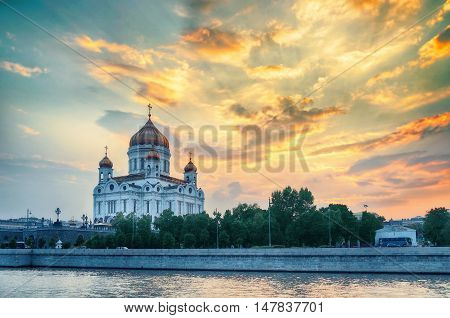 Moscow sunset view. Moscow landscape - Cathedral of Christ the Saviour in summer sunset