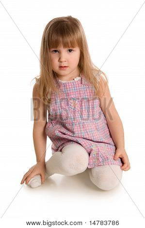 The Little Girl Isolated On White Background