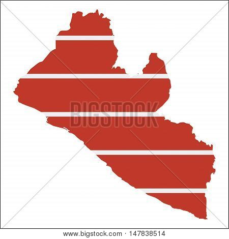 Liberia High Resolution Map With National Flag. Flag Of The Country Overlaid On Detailed Outline Map