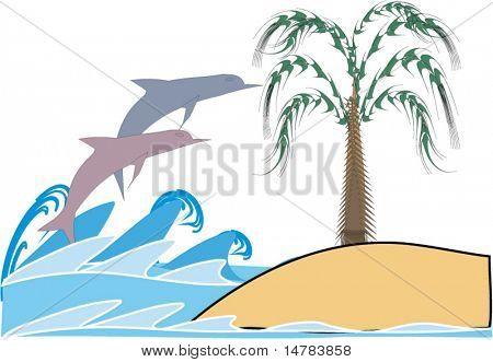 Delfin Spiel in Wellen nahe der Insel mit Palme