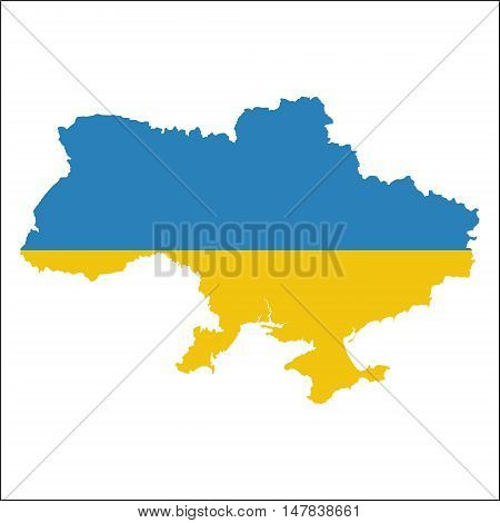 Ukraine High Resolution Map With National Flag. Flag Of The Country Overlaid On Detailed Outline Map