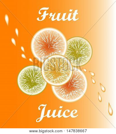 Vector fruit juice. Fruit on orange background. Citrus with drops of juice.