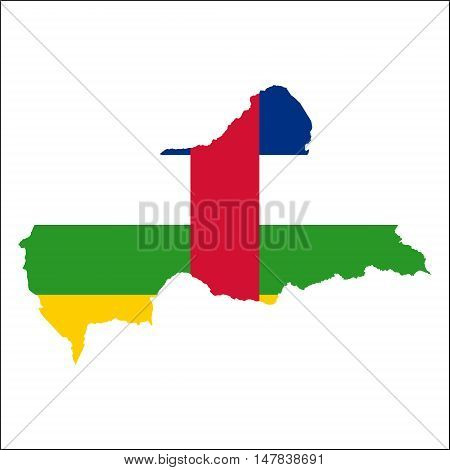 Central African Republic High Resolution Map With National Flag. Flag Of The Country Overlaid On Det