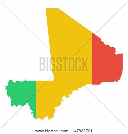 Mali High Resolution Map With National Flag. Flag Of The Country Overlaid On Detailed Outline Map Is