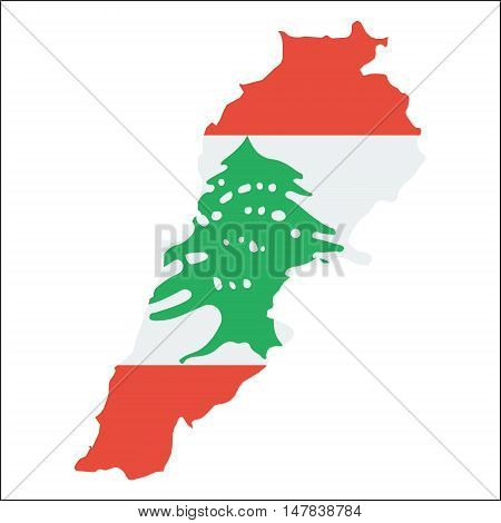 Lebanon High Resolution Map With National Flag. Flag Of The Country Overlaid On Detailed Outline Map