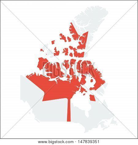 Canada High Resolution Map With National Flag. Flag Of The Country Overlaid On Detailed Outline Map
