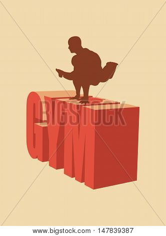 Muscular man posing on gym word. Vector silhouette. Bodybuilding relative image