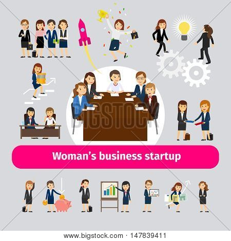 Professional woman business networking. Group of women for business startup or team work vector illustration