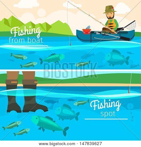 Vector fisherman catching fish at lake. Fishing vector illustration