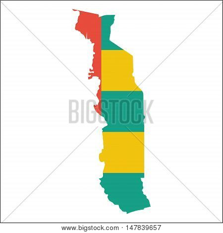 Togo High Resolution Map With National Flag. Flag Of The Country Overlaid On Detailed Outline Map Is