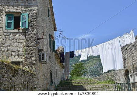 Historic buildings in Kotor old town Montenegro.