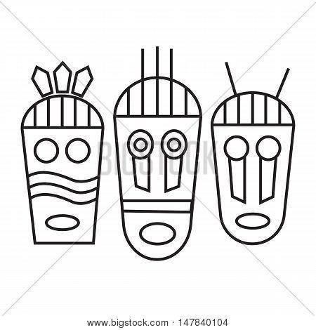 Ethnic masks tribal masks flat icons vector