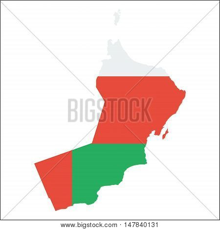 Oman High Resolution Map With National Flag. Flag Of The Country Overlaid On Detailed Outline Map Is
