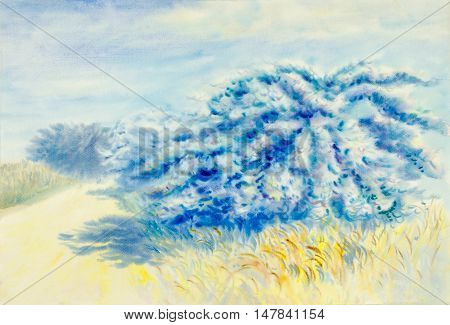 Watercolor painting original landscape white color of bougaville flowers in blue sky and cloud background