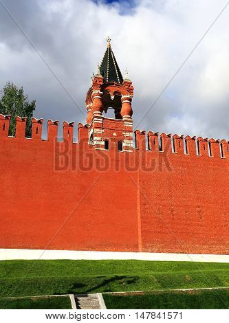 Moscow Kremlin red brick wall and small tower built in the Byzantine style