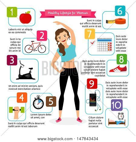 Woman healthy lifestyle infographics. Diet food, sports heart, positive living is healthy girl vector illustration