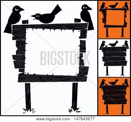 Cartoon wooden sign with crows and copyspace.