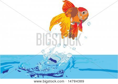 illustration with goldfish jumping above blue water