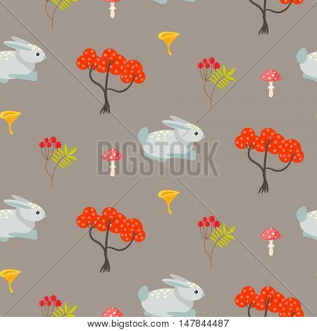 Orange autumn trees and blue bunny on earth color seamless pattern. Rowan branches and mushrooms background.