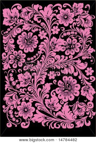 illustration with pink ornament on black background