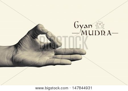 B/W image of woman hand in gyan mudra. Gesture is isolated on toned background.