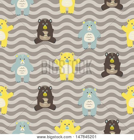 Cartoon fun bears seamless brown zigzag pattern. Baby yellow and blue bears background.